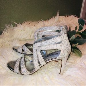 Leather Strappy Snakeskin Patterned Zippered Heels